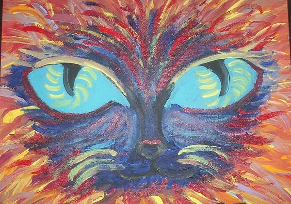 Cats Art Print featuring the painting ICU by Lindsay St john
