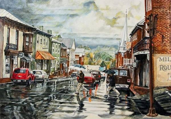 Rural Town Art Print featuring the painting Looking North by Thomas Akers