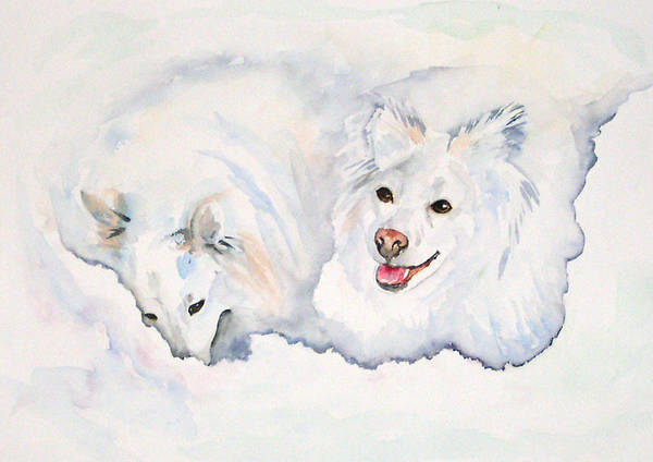 Canine Art Print featuring the painting Numa And Amari by Gina Hall