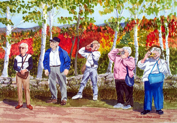People Art Print featuring the painting The Leaf Peepers by Anne Trotter Hodge