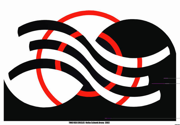 Op-art Art Print featuring the mixed media Two Red Circles by Heike Schenk-Arena