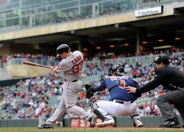 Ninth Inning Art Print featuring the photograph Boston Red Sox V Minnesota Twins by Hannah Foslien