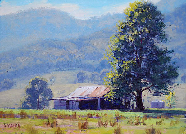 Rural Art Print featuring the painting Farm Shed by Graham Gercken
