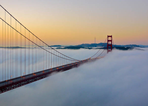 Fog Art Print featuring the photograph Golden Gate Dawn by Denise Cottin