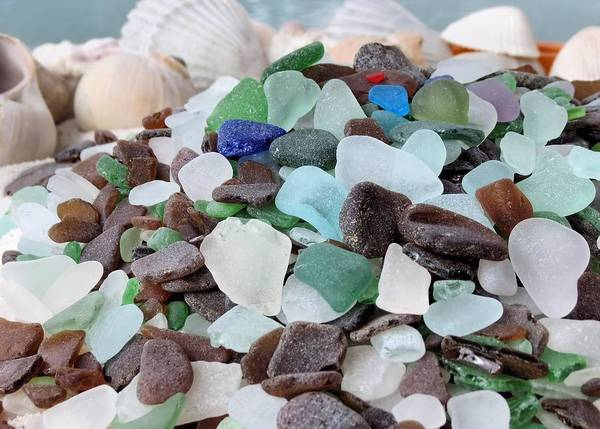 Seaglass Art Print featuring the photograph Sea Glass In Many Colors by Janice Drew
