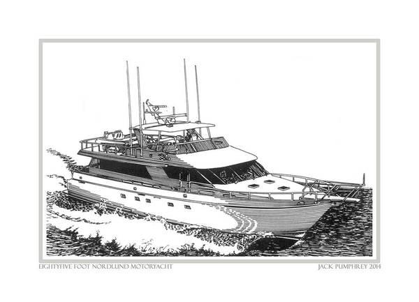 Yacht Portraits Art Print featuring the drawing 85 Foot Custom Nordlund Motoryacht by Jack Pumphrey