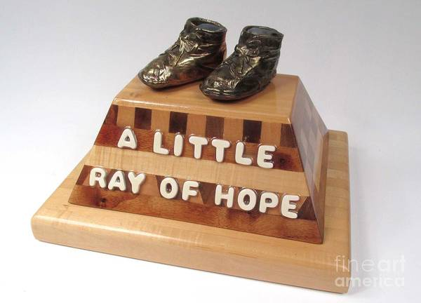 Baby Shoes Art Print featuring the sculpture A Little Ray Of Hope #115 by Bill Czappa