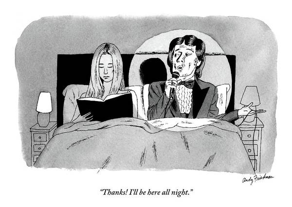 Bedroom Scenes Art Print featuring the drawing A Man In A Performer's Tuxedo Lies In Bed Next by Andy Friedman