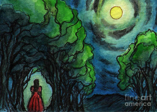 Girl Art Print featuring the painting Ac224 Girl Under Full Moon by Kirohan Art