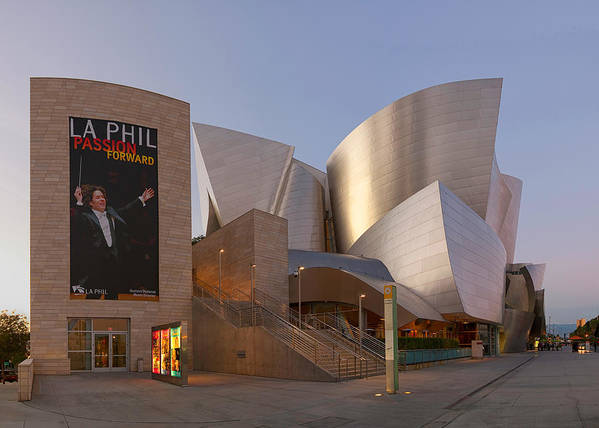 Walt Art Print featuring the photograph An Evening With Gustavo - Walt Disney Concert Hall Architecture Los Angeles by Ram Vasudev