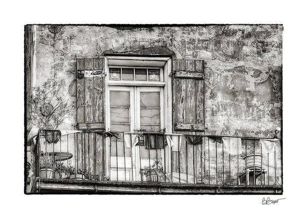 Balcony Print featuring the photograph Balcony View In Black And White by Brenda Bryant