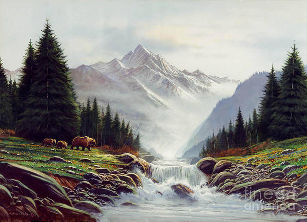 Wildlife Art Print featuring the painting Bear Mountain by Robert Foster