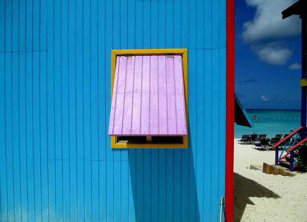 Caribbean Corner Art Print featuring the photograph Blue Cabin by Randall Weidner
