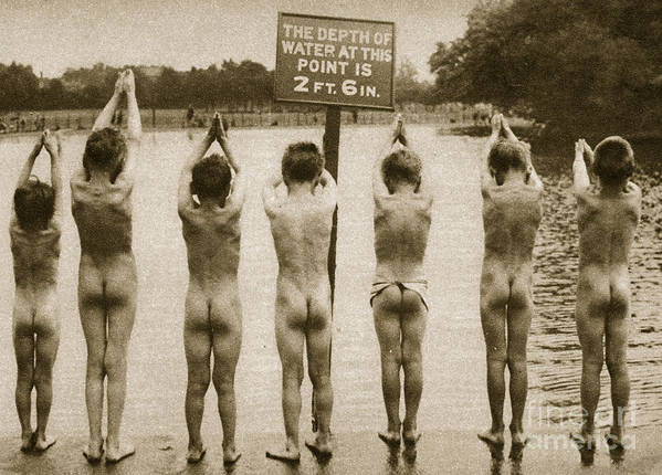 London Print featuring the photograph Boys Bathing In The Park Clapham by English Photographer