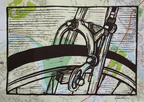 Printmaking Print featuring the drawing Brake On Map by William Cauthern