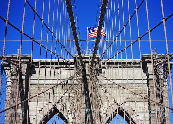 Brooklyn Bridge Art Print featuring the photograph Brooklyn Bridge With American Flag by Nishanth Gopinathan
