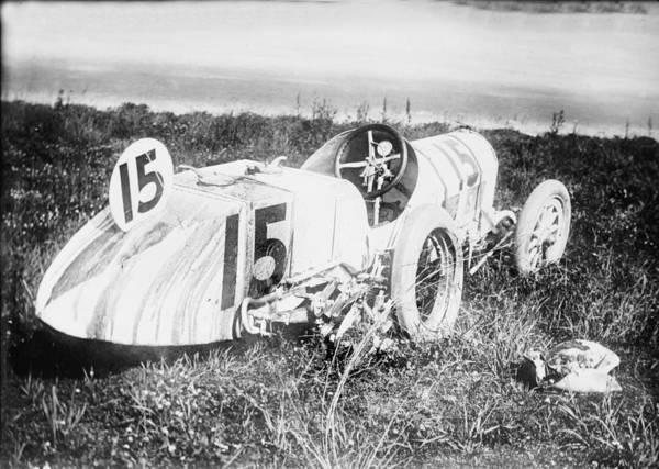1910s Art Print featuring the photograph Car Accident, Bob Burmans Car by Everett
