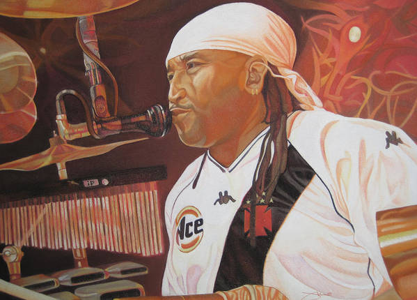 Carter Beauford Art Print featuring the drawing Carter Beauford At Red Rocks by Joshua Morton