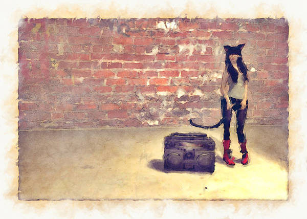 Art Print featuring the digital art Catgirl Boombox Four by Secret Catgirl