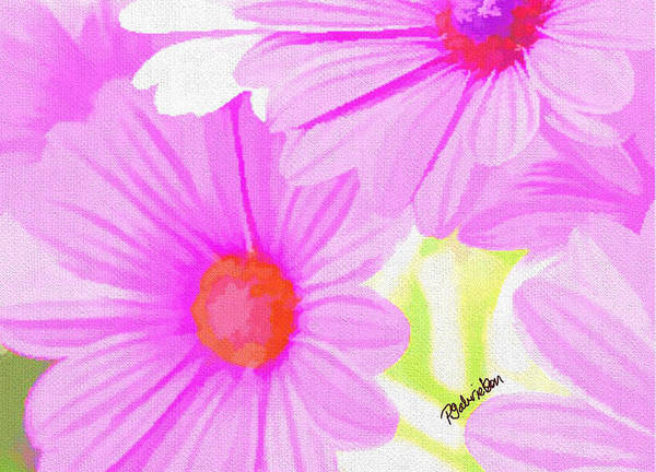Pink Daisies Art Print featuring the digital art Childhood Innocence by Peggy Gabrielson