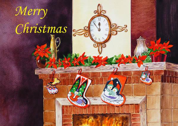 Christmas Art Print featuring the painting Christmas Card by Irina Sztukowski