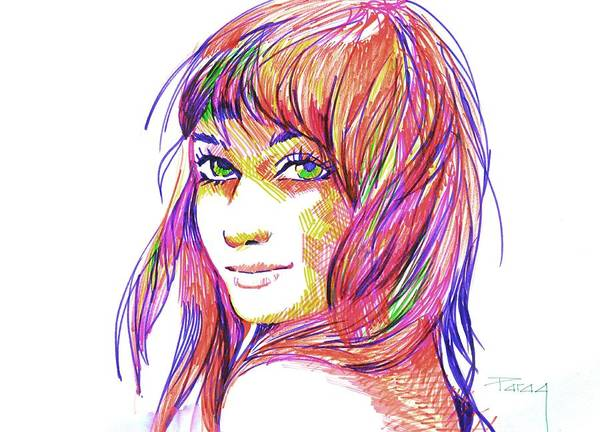 Art Print featuring the drawing Color Play by Parag Pendharkar
