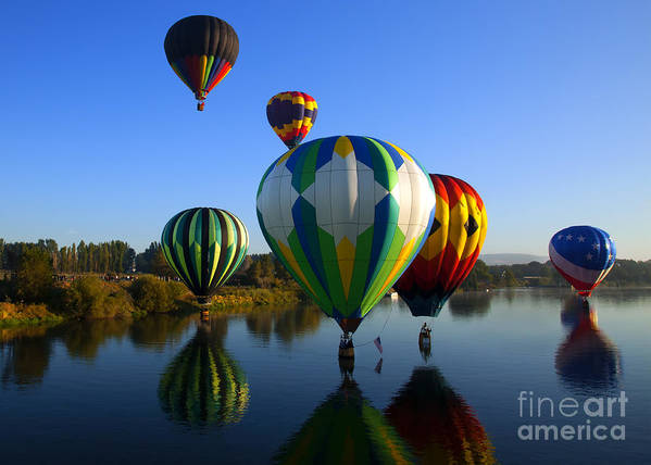 Balloons Art Print featuring the photograph Colorful Landings by Mike Dawson