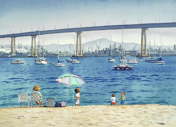Coronado Art Print featuring the painting Coronado Beach And Navy Ships by Mary Helmreich