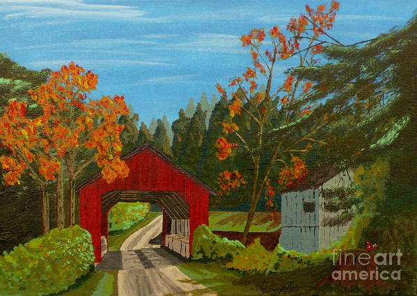 Path Art Print featuring the painting Covered Bridge by Anthony Dunphy