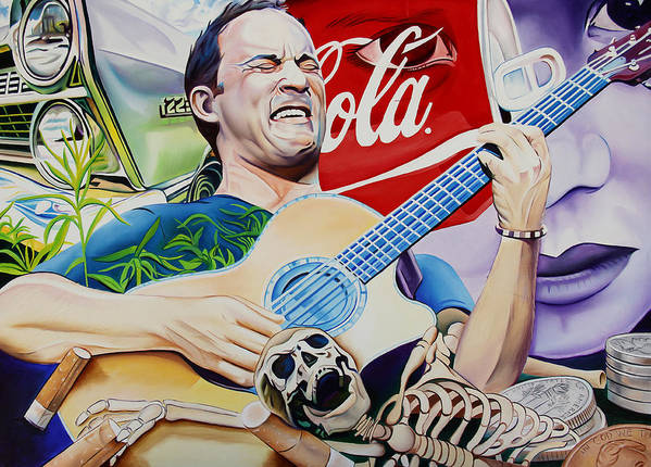 Dave Matthews Art Print featuring the painting Dave Matthews Seek Up by Joshua Morton