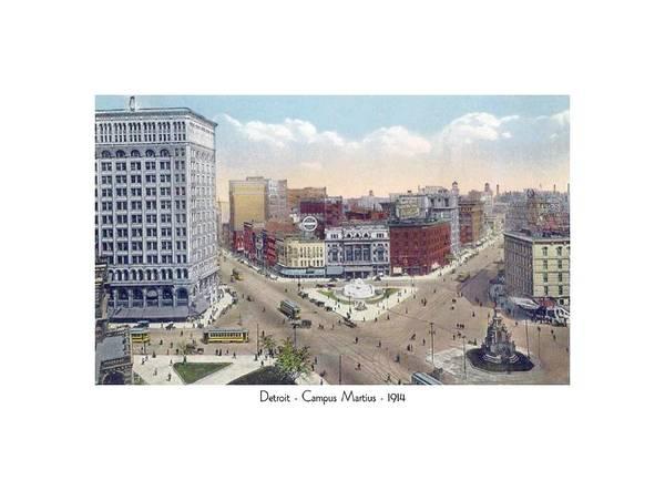 Detroit Art Print featuring the digital art Detroit - Campus Martius - Soldiers And Sailors Monument - 1914 by John Madison