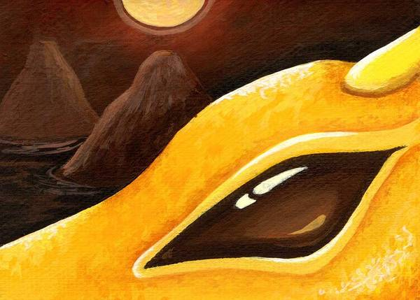 Yellow Dragon Art Print featuring the painting Dragon Of The Twin Volcanoes by Elaina Wagner