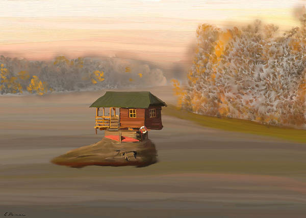 Drina House Art Print featuring the painting Drina House In Morning Mist by Eliza Donovan