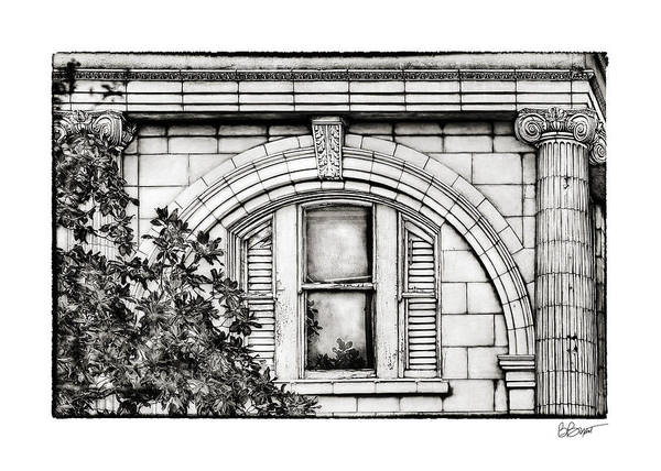 Window Print featuring the photograph Elegance In The French Quarter In Black And White by Brenda Bryant