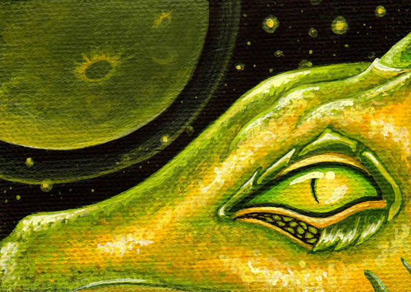 Green Dragon Print featuring the painting Eye Of Moon Crater by Elaina Wagner