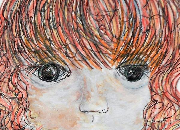 Anime Print featuring the painting Eyes Of Innocence by Eloise Schneider