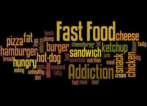 Fast Food Addiction, Word Cloud Concept 8 Art Print