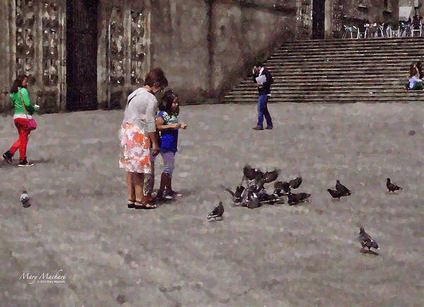 Cathedral Of Santiago De Compostela In Galicia Art Print featuring the digital art Feeding Pigeons In Santiago De Compostela by Mary Machare