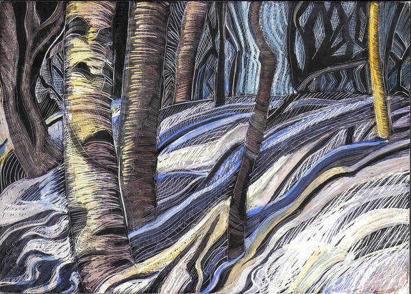 Maine Art Print featuring the drawing First Thaw by Grace Keown