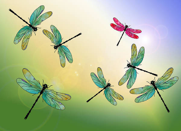 Dragonfly Art Print featuring the mixed media Flight Of The Scarlet Lady by Jenny Armitage
