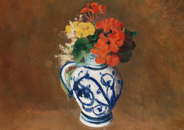 Still Life; Jug; Redon Art Print featuring the painting Flowers In A Blue Vase by Odilon Redon