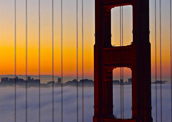 Golden Gate Bridge Art Print featuring the photograph Fog City by Denise Cottin