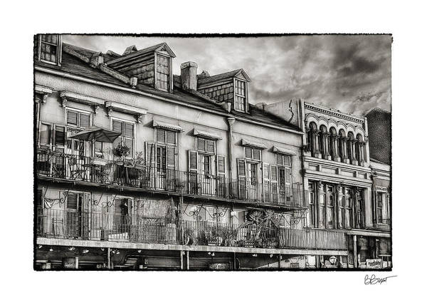 French Market Print featuring the photograph French Market View In Black And White by Brenda Bryant