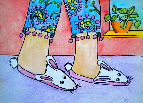 Funny Bunny Slippers Art Print featuring the painting Funny Bunny Slippers by Debi Starr