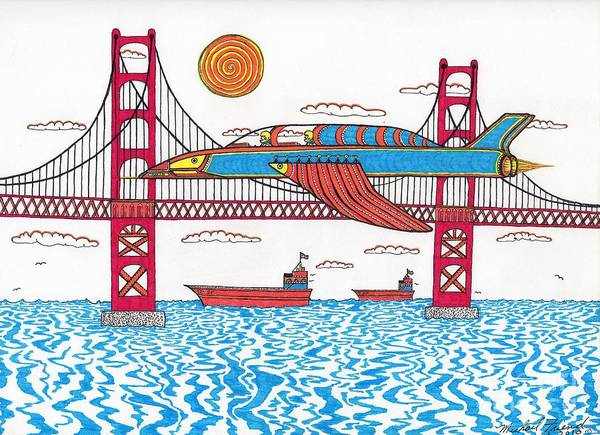 San Francisco Art Print featuring the drawing G.g. Fly By by Michael Friend