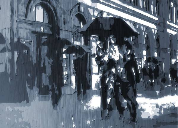 City Rain Art Print featuring the digital art Gloomy Day In The City by Dan Sproul