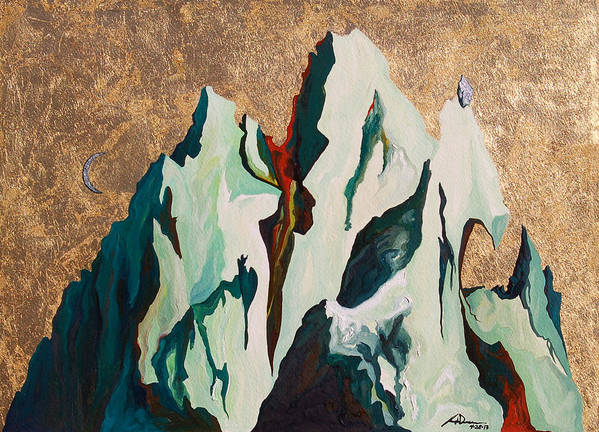 Mountains Art Print featuring the painting Gold Mountain by Joseph Demaree