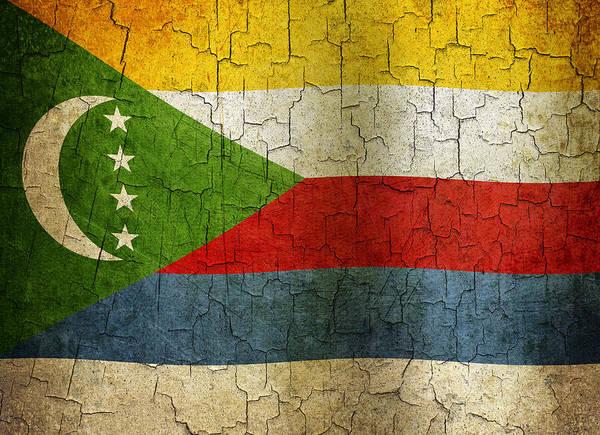 Aged Art Print featuring the digital art Grunge Comoros Flag by Steve Ball