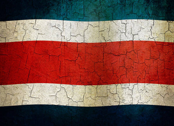 Aged Art Print featuring the digital art Grunge Costa Rica Flag by Steve Ball