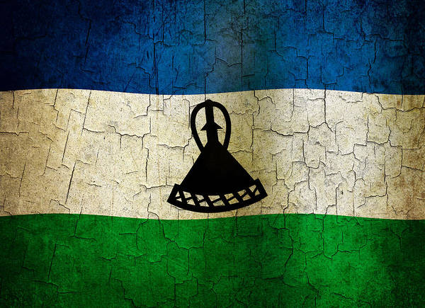 Aged Art Print featuring the digital art Grunge Lesotho Flag by Steve Ball